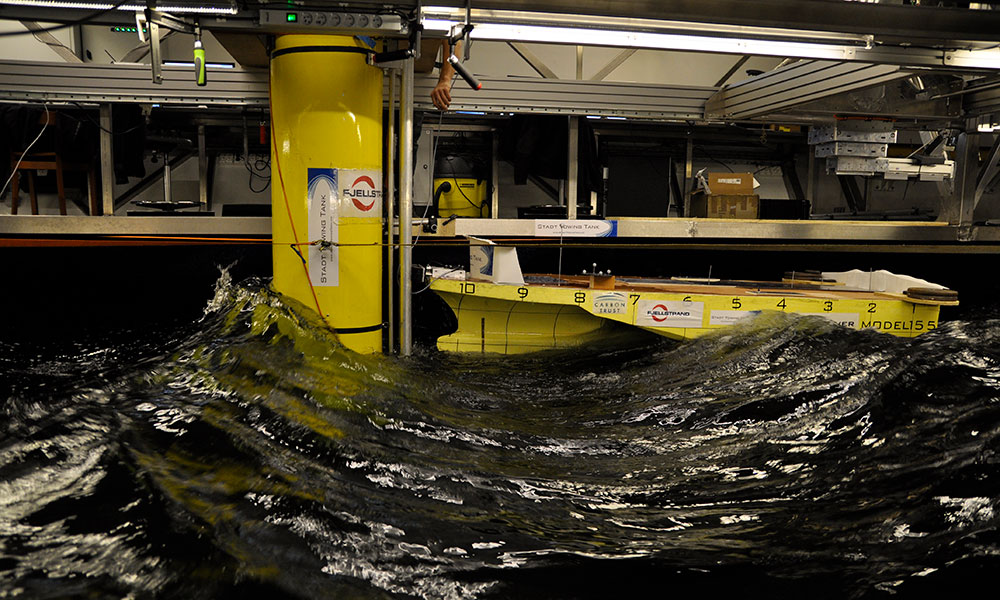 Testing of crew vessel developed by Fjellstrand along an offshore wind turbine. Seakeeping tests performed in our wave basin, simulating rough ocean waves.